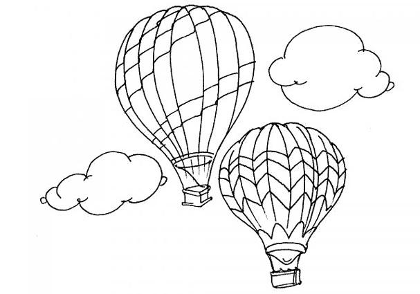 Coloriage et dessins gratuits Vol en Montgolfières  en plein air à imprimer