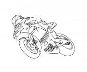 Coloriage et dessins gratuit Moto de course en ligne à imprimer