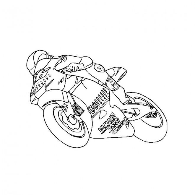 Coloriage et dessins gratuits Moto de course en ligne à imprimer