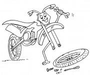 Coloriage et dessins gratuit Moto humoristique pour Enfant à imprimer