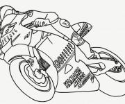 Coloriage et dessins gratuit Moto Yamaha en course à imprimer