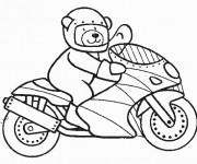 Coloriage et dessins gratuit Ours monte sur Moto à imprimer