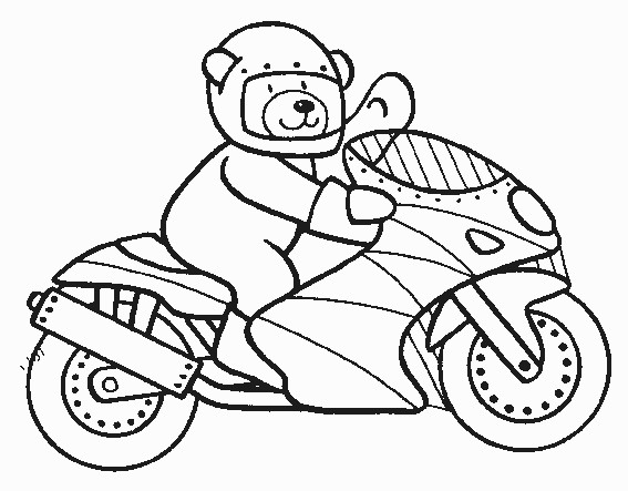 Coloriage et dessins gratuits Ours monte sur Moto à imprimer