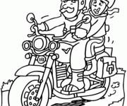 Coloriage et dessins gratuit Père et sa fille sur Moto à imprimer