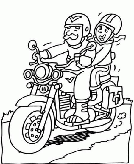 Coloriage et dessins gratuits Père et sa fille sur Moto à imprimer