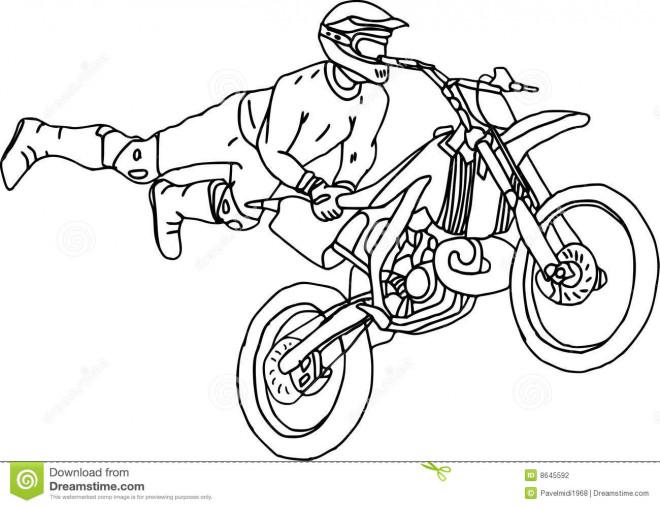 Coloriage Illustrations Motocross freestyle dessin gratuit à imprimer