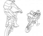 Coloriage Motocross cabrage