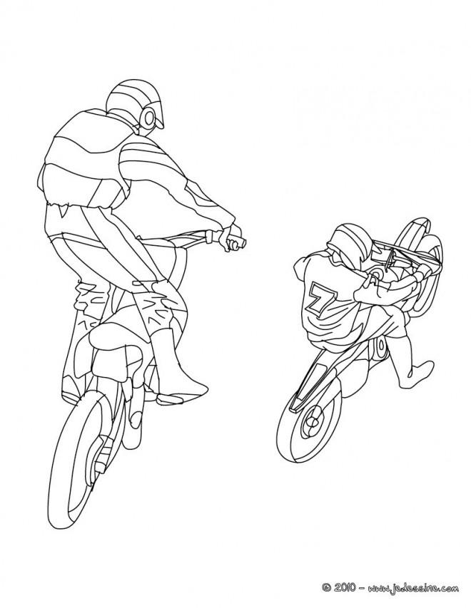 Coloriage et dessins gratuits Motocross cabrage à imprimer