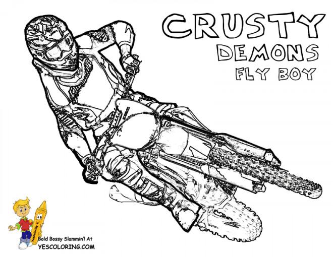 Coloriage et dessins gratuits Motocross Crusty Demons à imprimer