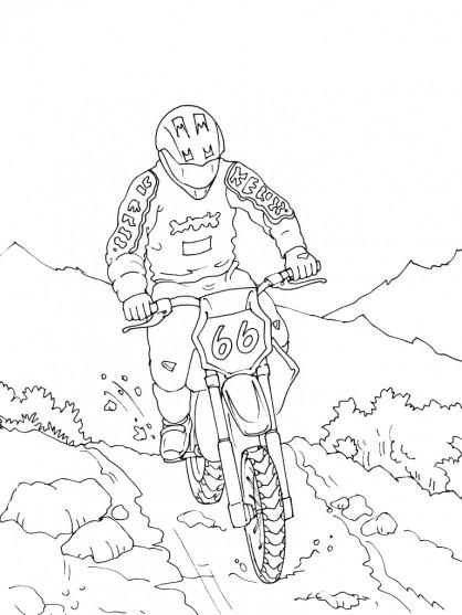 Coloriage et dessins gratuits Motocross dans la nature à imprimer