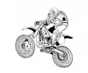 Coloriage et dessins gratuit Motocross en noir et blanc à imprimer
