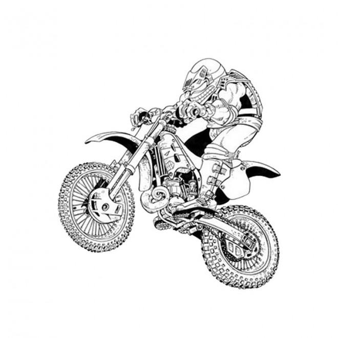 Coloriage et dessins gratuits Motocross en noir et blanc à imprimer