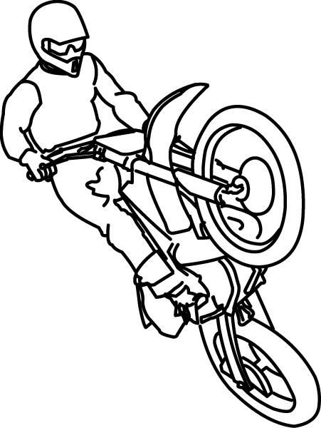 Coloriage Motocross et le saut dessin gratuit à imprimer