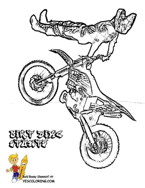 Coloriage et dessins gratuits Motocross et le saut magnifique à imprimer