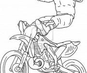 Coloriage Motocross et Motocycliste en haut