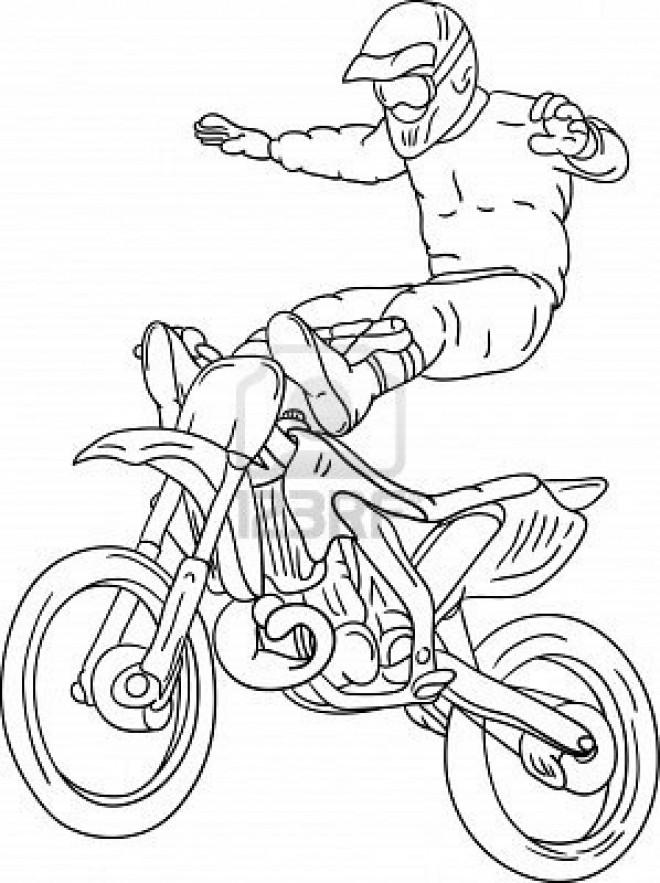 Coloriage et dessins gratuits Motocross et Motocycliste en haut à imprimer