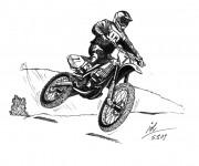 Coloriage Motocross et petit saut