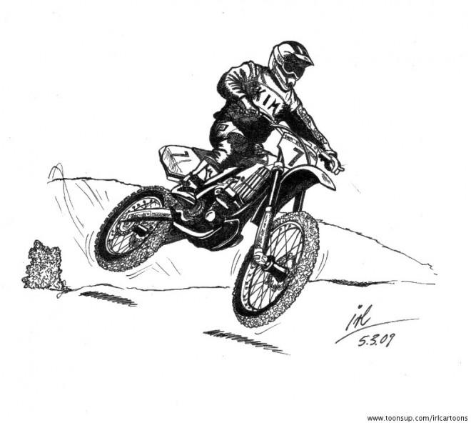 Coloriage et dessins gratuits Motocross et petit saut à imprimer