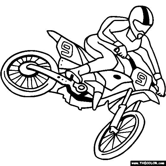 Coloriage et dessins gratuits Motocross facile à imprimer