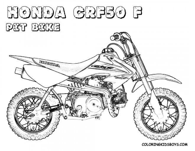 Coloriage et dessins gratuits Motocross Honda Pit Bike à imprimer