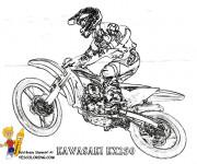 Coloriage Motocross Kawasaki en grand saut