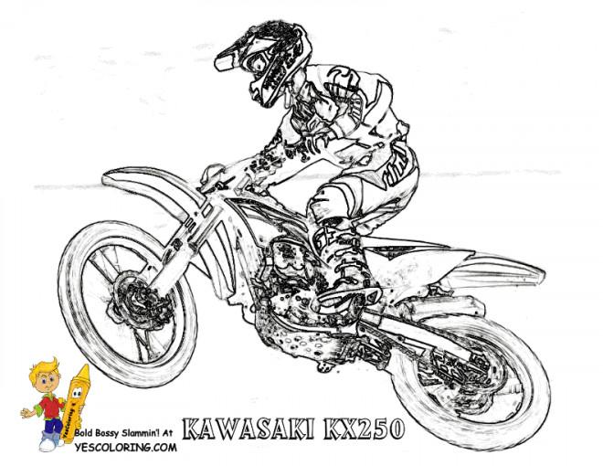 Coloriage et dessins gratuits Motocross Kawasaki en grand saut à imprimer
