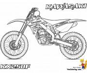 Coloriage Motocross Kawasaki KX250F