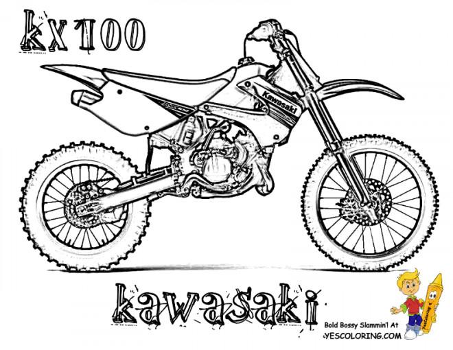 Coloriage Motocross Kawasaki Modele Kx100 Dessin Gratuit A Imprimer