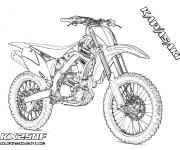Coloriage Motocross Kawasaki pour spectacle