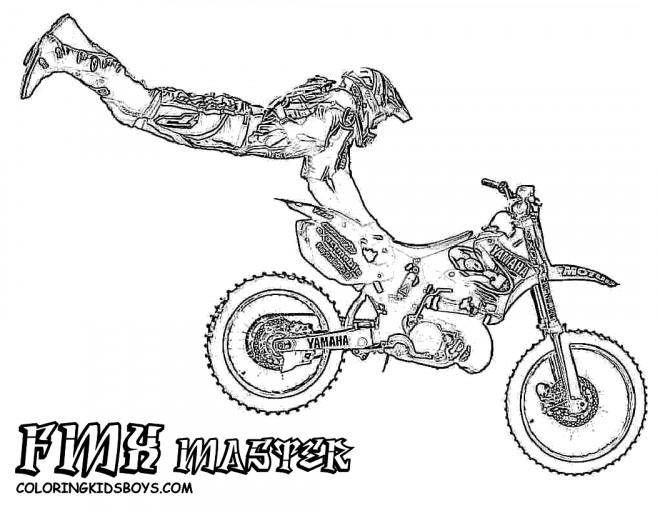 Coloriage Motocross Réaliste Dessin Gratuit à Imprimer
