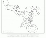 Coloriage Motocross saut Freestyle