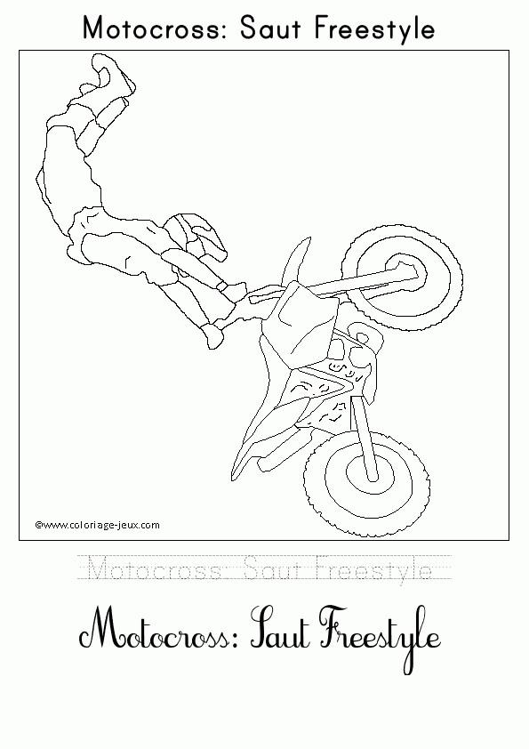 Coloriage et dessins gratuits Motocross saut Freestyle à imprimer