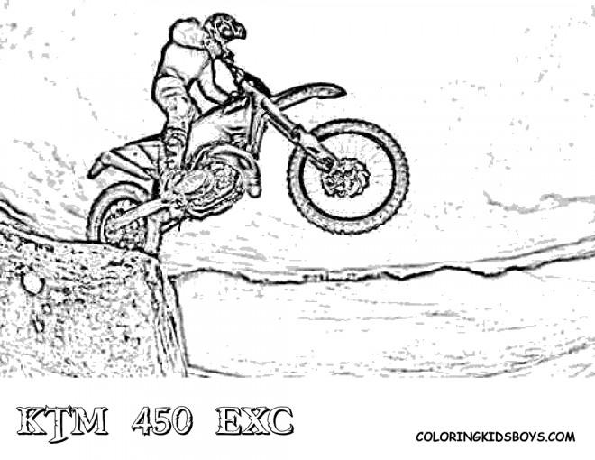 Coloriage et dessins gratuits Motocross sur montagne à imprimer