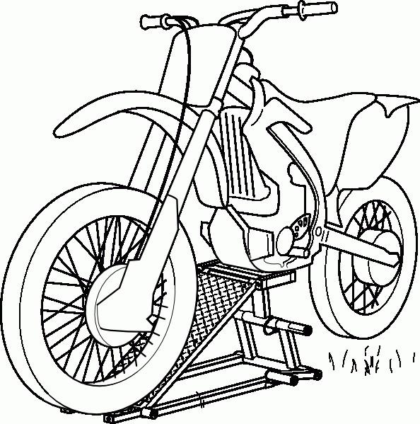Coloriage et dessins gratuits Motocross vue de face à imprimer