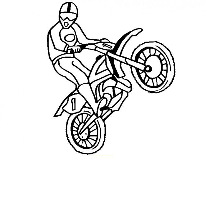 Coloriage et dessins gratuits Motocycliste et Motocross en show à imprimer