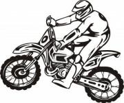 Coloriage Motocycliste professionnel vecteur
