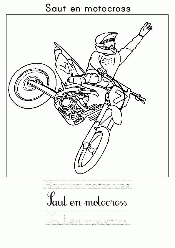 Coloriage et dessins gratuits Saut en Motocross à imprimer