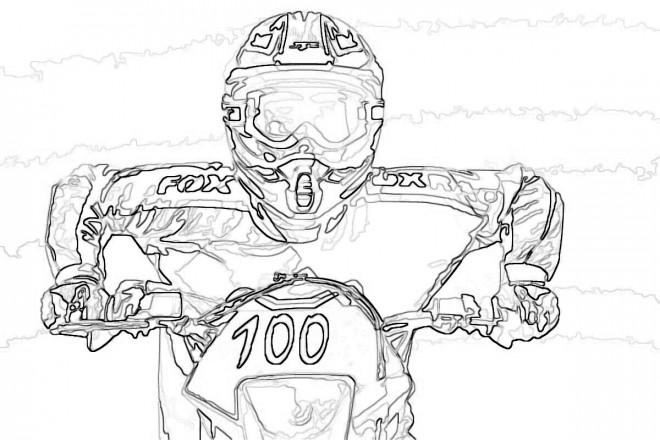 Coloriage et dessins gratuits Un portrait de Motocross Rider Freestyle à imprimer