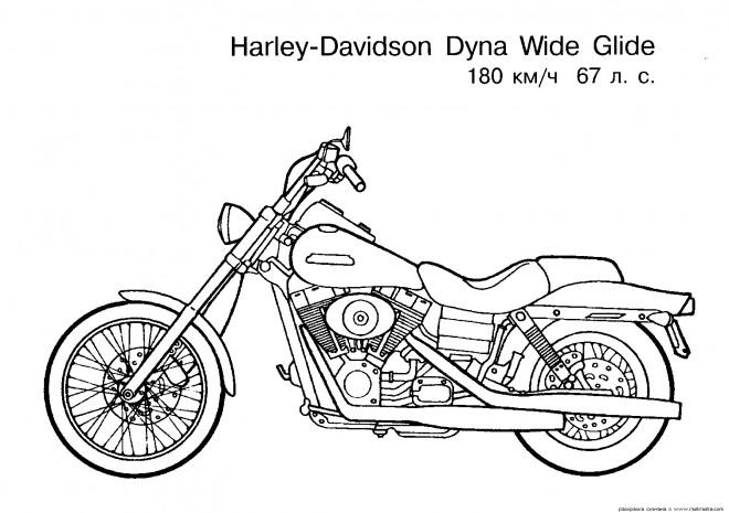 Coloriage et dessins gratuits Harley Davidson Dyna Wide Glide à imprimer
