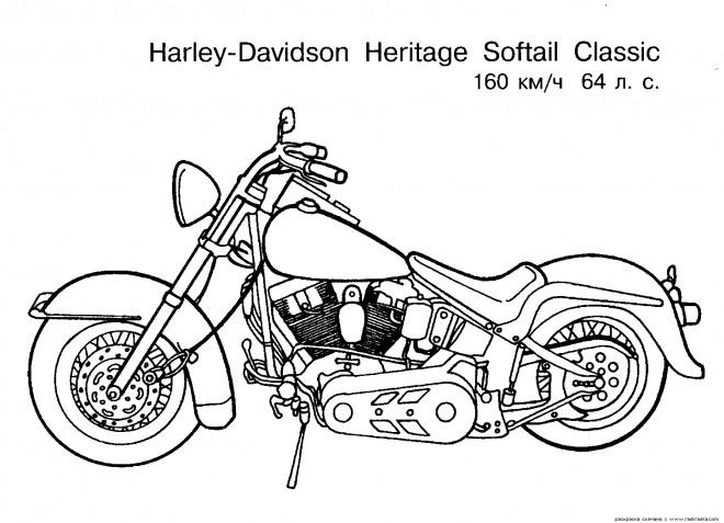 Coloriage et dessins gratuits Harley Davidson  Heritage Softail à imprimer