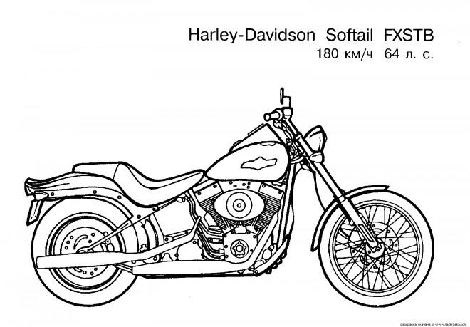 Coloriage et dessins gratuits Harley Davidson Modèle FXSTB à imprimer