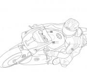 Coloriage et dessins gratuit Moto de course en couleur à imprimer