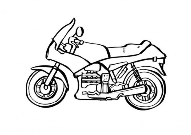 Coloriage et dessins gratuits Moto de course en noir et blanc à imprimer