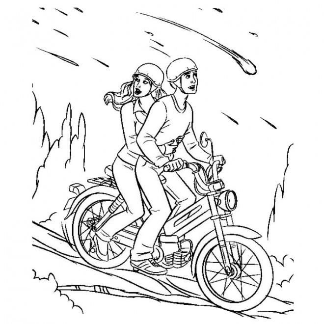 Coloriage et dessins gratuits Moto descendante d'une montagne à imprimer