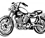 Coloriage et dessins gratuit Moto Harley Davidson classique à imprimer
