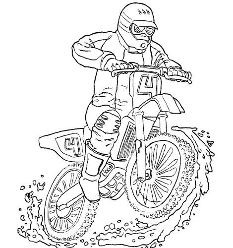 Coloriage Motocross Couleur Dessin Gratuit à Imprimer