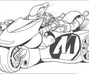 Coloriage et dessins gratuit Motocyclette  de course magique à imprimer