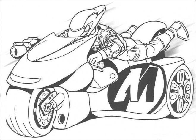 Coloriage et dessins gratuits Motocyclette  de course magique à imprimer