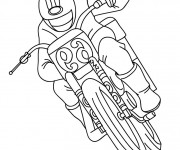 Coloriage et dessins gratuit Motocyclette en course à imprimer