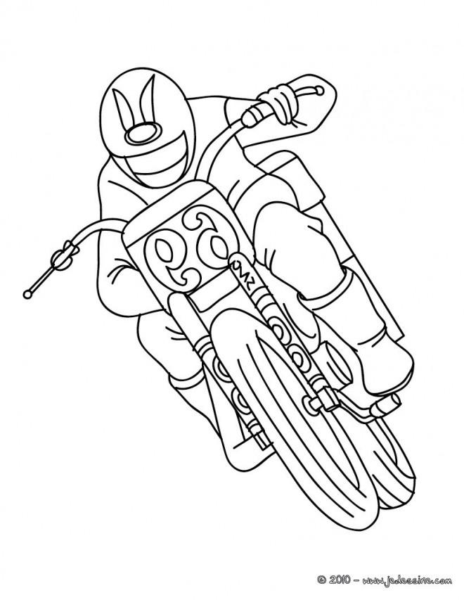 Coloriage et dessins gratuits Motocyclette en course à imprimer